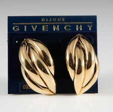 Sleek Vintage Givenchy Gold Toned Smooth Earrings - Pierced