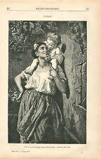 L'Enfant ,un baiser pour une grappe de Raisin d'Alfred Loulet GRAVURE PRINT 1878