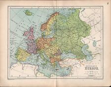 1903 MAP ~ EUROPE ~ BRITISH ISLES NORWAY FRANCE DENMARK GERMANY ITALY ROUTES