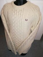 DESIGNER FRED PERRY ARAN CABLE KNIT CREAM JUMPER SIZE XL NEW COND  RRP £120