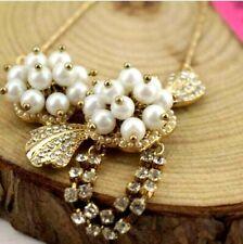 Jewelry Betsey Johnson pearl tassel Fashion Women Gift Rhinestone Necklaces
