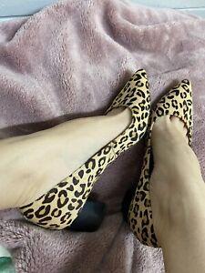 Diana Ferrari Leopard Print Block Heels - Size 9