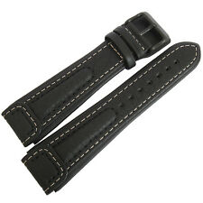 20mm Di-Modell Chronissimo Long Black Leather PVD BUCKLE German Watch Band Strap