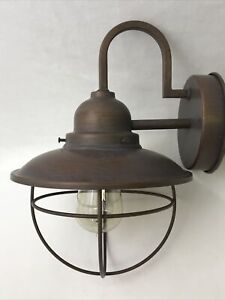 """""""Vtg"""" Caged Porch Light Industrial Metal Wall Sconce Farmhouse Chic Garage Barn"""
