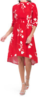 BA&SH TIERED  NEW WITH TAGS FLORAL MIDI DRESS  SIZE 3 RED/WHITE