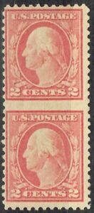 """1917 2c Washington issue """"ERROR"""" (499c almost) vertical pair imperf between.RARE"""