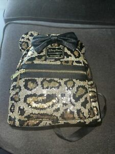 NWT Disney Parks Loungefly Sequin Leopard Cheetah Mini Backpack Bag IN HAND!