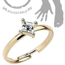 Brass Mid-Ring/Toe Ring [Jewelry] Single Pronged Square Cz Adjustable