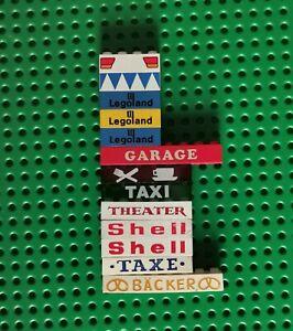 Lego City System Balken Stein Bedruckt Legoland Shell Taxi Garage 13 Stück (32)