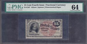US 15c Fractional Currency FR 1267 PMG 64 Ch CU w/ Seal Plate #1 Capture