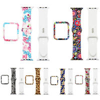 Floral Case Silicone Strap for Apple Watch Series 6 5 4 3 Leopard Butterfly Band