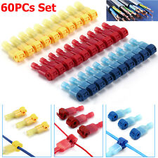 60Pcs 22-10 AWG Insulated T-Taps Quick Splice Wire Terminal Connectors Combo Kit