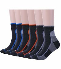 Mens Athletic Hiking Socks-6Pack Short Running Camping Cushion Quarter Socks-Low