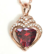 Red Ruby Heart Diamond Pendant Necklace 18 Wedding Rose Gold Plated Jewelry YR55
