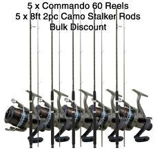 LOTE 5x Commando 60 Pesca En Agua Dulce Carretes + 1.5x2.4m Camuflaje STALKER