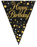 Happy Birthday Party Sparkling Fizz Black & Gold Flag Bunting Banner Decoration