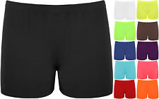 New Ladies Cycling Gym  Plain Stretch Shorts Elastic Womens Hot Dance Pants 8-14