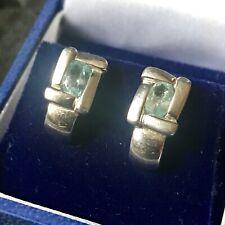 Vintage Pair Of 9 Carat White Gold & Aquamarine Pierced Earrings