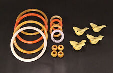 Vtg Macrame Lot 4 Ceramic Birds Beads 8 Marbella 5�- 2� Ring Beads Craft Lot