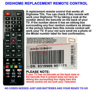 DIGIHOME REMOTE CONTROL A REPLACEMENT THAT WORKS ALL DIGIHOME TVs