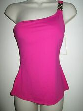 MICHAEL KORS Pink SWIMSUIT TOP S Tankini ONE SHOULDER NEW Watchband Links NWT