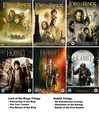 LORD OF THE RINGS + HOBBIT TRILOGY ALL 6 MOVIE COLLECTION DVD BOX SET NEW R2 UK