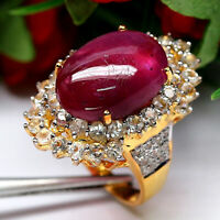 NATURAL 12 X 17 mm. CABOCHON RED RUBY & WHITE TOPAZ RING 925 STERLING SILVER