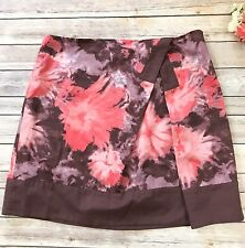 Anthropologie Elevenses Skirt 14 Cotton Lined Pink Floral