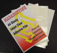 10 A4 Inkjet Printable Clear Adhesive Acetate Sticker Film Sheets 70mic