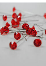 "100 Gem Cut 2"" Corsage Boutonniere Wedding Lomey Diamante Pins Craft RED"