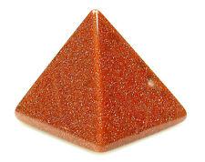 PYRAMID - GOLDSTONE 29-30mm Crystal w/Pouch & Description - Healing Reiki Stone