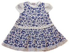 Baby Dress Summer Pinafore T Shirt Top Navy Blue White 12-18