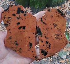 (2) Beautiful - Mahogany and Black Obsidian Slabs - Knapping 186 Gr. 3174