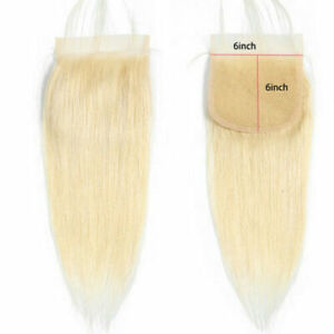 18INCH 6X6 WIDER BLONDE 613# LACE CLOSURE 100% BRAZILIAN HUMAN HAIR STRAIGHT 12A