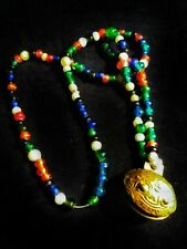 Naga tribal Indian glass trade bead heirloom necklace with bronze bell