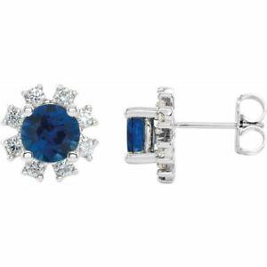 Chatham Created Blue Sapphire & 1/4 CTW Diamond Earrings In Platinum