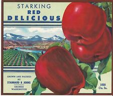 Starking Red Delicious Apples~Orondo Washington~Original Label~ Standard & Johns