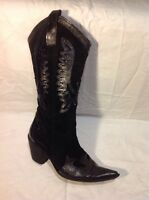 Vera Gomma Black Mid Calf Leather Boots Size 37