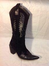Vera Gomma Black Mid Calf Leather Boots Size 37