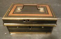 English Make Vintage Metal Tin Box With Handle & Flip Lid