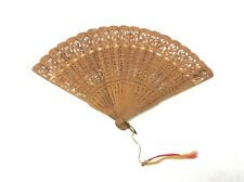 Wooden Decorative Old Cut Scrolled Decorative Hand Fan with Fabric Chinese?