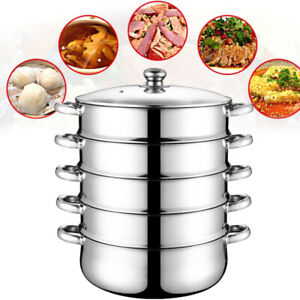 5 Tier Food Steamer Meat Vegetable Cooker Stainless Steel Steam Pot Kitchen Tool