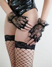 Glamour Lingerie Fingerless Lace Gloves in Black