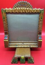Antique TRAMP ART Whimsy Picture Frame Hand Carved Painted Folk Arts and Crafts