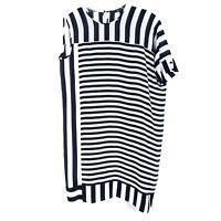 BCBGMAXAZRIA Women's size XS Silk Dress Black White Stripe Asymmetric Sleeve