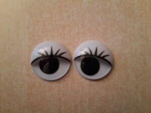 2 Wackelaugen zum Kleben Augen mit Wimpern Basteln 20 mm Scheibe