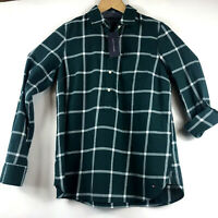 Tommy Hilfiger Womens Flannel Pullover Shirt Roll Tab Long Sleeves Green Small