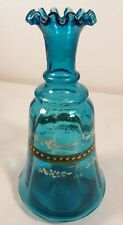Antique Ruffled Edge Hand Painted Teal Blue Blown Glass Bottle