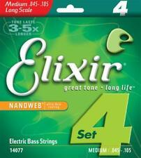 Elixir 14077 Nanoweb Medium Electric Bass Guitar Strings Set