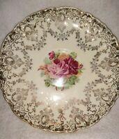 """Rose Pattern & Gold Trim Bone China England Saucer 5 1/2"""""""